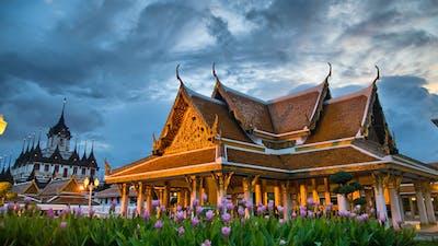Thai Temple Timelapse At Sunset Bangkok Thailand