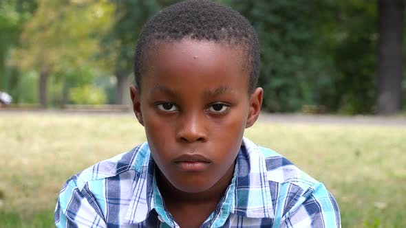 Thumbnail for A Young  Black Boy Sits on Grass in a Park and Looks Seriously at the Camera - Face Closeup