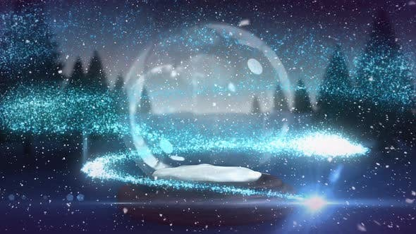Digital animation of blue glitter sparkles wave moving around snow globe in magical forest