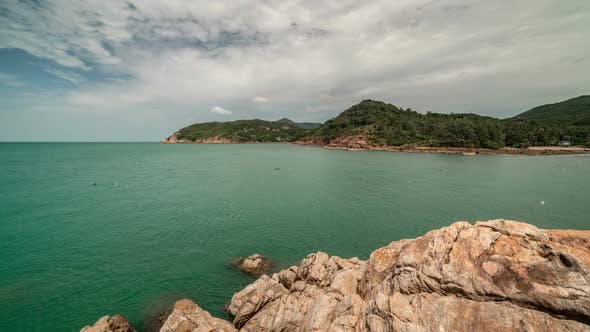 Thumbnail for Rocky coast overlooking a tropical island Koh Phangan, Thailand
