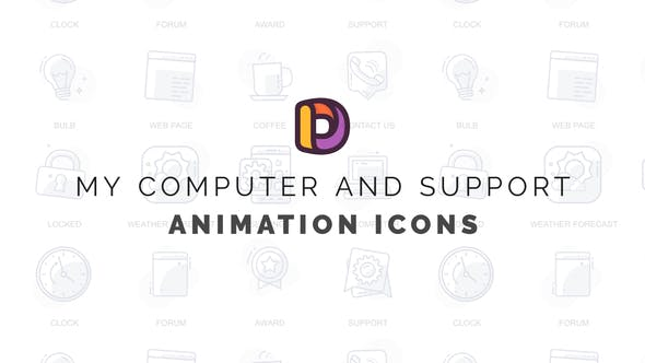My computer and support - Animation Icons