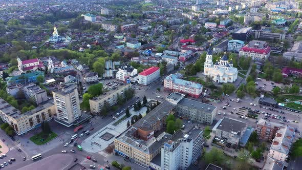 Aerail View Streets Of The City Of Zhytomyr