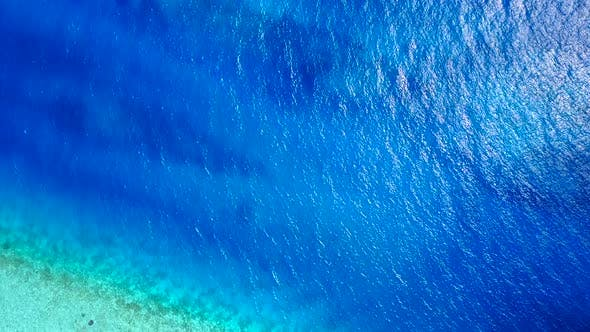 Tourist beach journey by blue green water with white sand background near sandbank