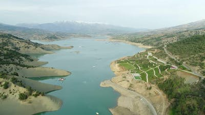 Nature Artificial Lake And Mountains Aerial View