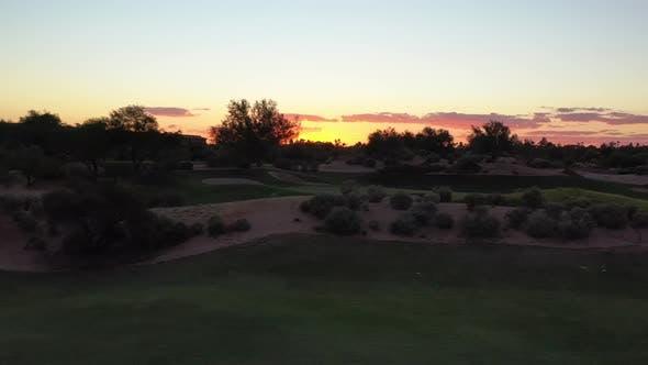Sunset Parallax Desert Golf Course 4 K