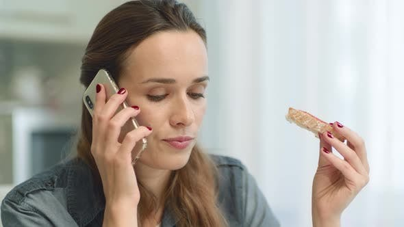 Thumbnail for Closeup Worried Woman Getting Bad News on Phone Call