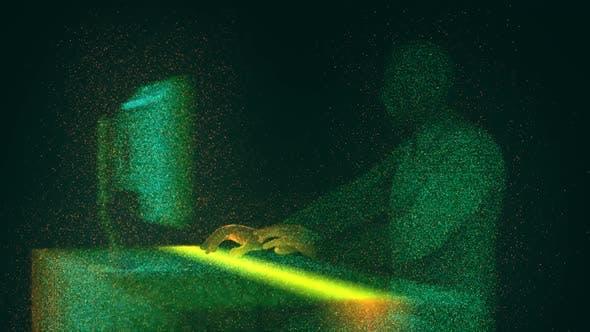 Admin Arbeiten vor Desktop-Computer in Digital Cyber Space Hud Hologramm Stil Animation