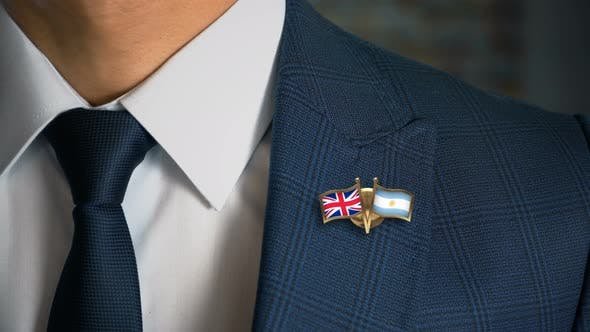 Thumbnail for Businessman Friend Flags Pin United Kingdom Argentina