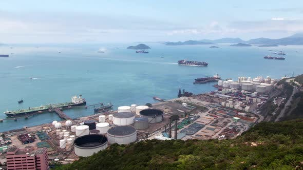 Thumbnail for Timelapse Vast Hong Kong Harbour with Industrial District