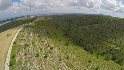 Windfarm Producing Alternative Energy for City, Electricity Generation in Cyprus