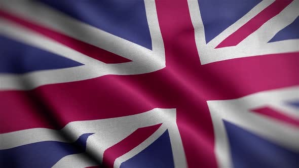 United Kingdom Flag Textured Waving Close Up Background HD