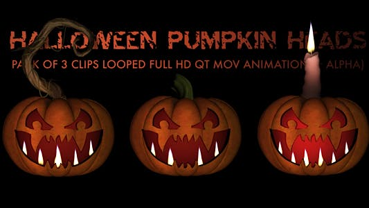 Thumbnail for Halloween Pumpkin Heads - Pack of 3