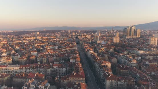 Thumbnail for Sofia Panoramic View at Sunset with Calm City Traffic on Long Boulevard