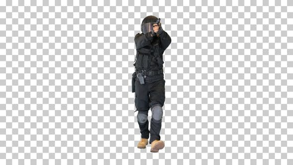 Swat agent running and aiming with a gun, Alpha Channel