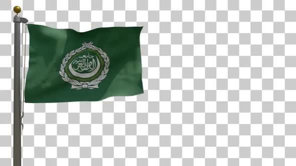 Thumbnail for Arab League Flag on Flagpole with Alpha Channel - 4K
