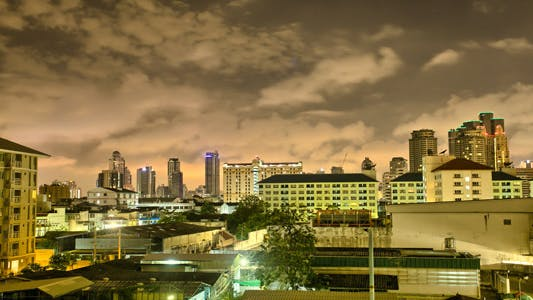 Thumbnail for Fast Clouds Above Bangkok City Skyline At Night
