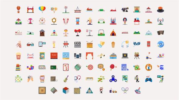 100 Fun Activities Icons