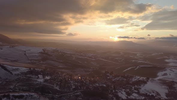 Thumbnail for Aerial Panoramic Sunset over Rural Country