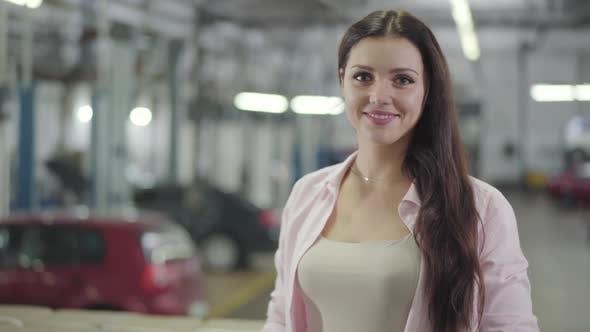 Thumbnail for Young Beautiful Caucasian Woman Looking at Camera and Smiling