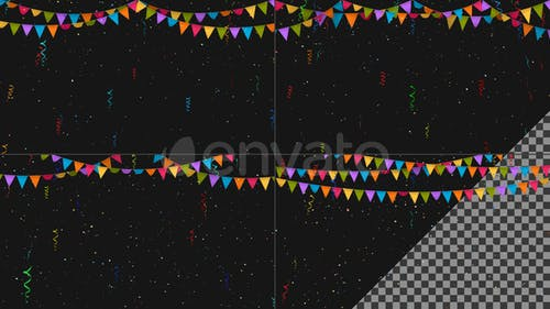 Bunting Flags with Falling Confetti - 4 Designs