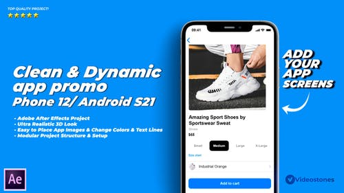 Dynamic & Clean App Promo Video 3D Mockup