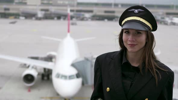 Thumbnail for Young Attractive Professional Woman Pilot Succeed in Aviation Business