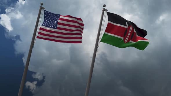 Waving Flags Of The United States And The Kenya 2K