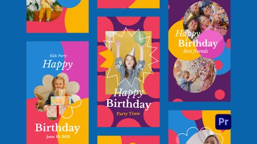 Kids Birthday Party Instagram Stories for Premiere Pro