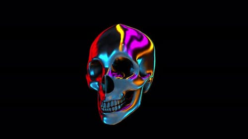 4K Neon jelly skull with alpha channel