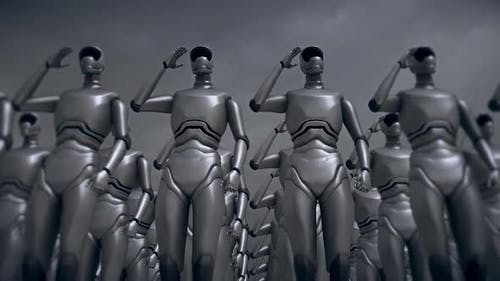 Soldier Robots Giving Salute V2 Hd
