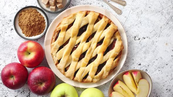 Thumbnail for Delicious Apple Pie Cake with a Fresh Fruits, Brown and Powder Sugar