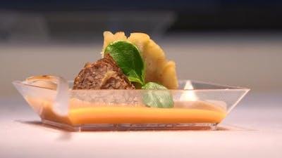 A Gourmet Restaurant Dish on a Table - Closeup