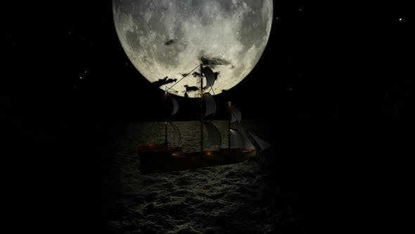 Thumbnail for The ship sails during the full moon between the mountains