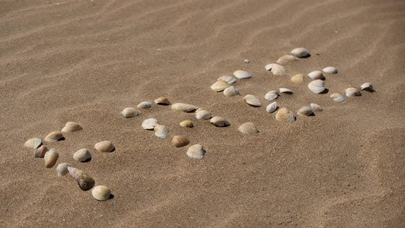 Thumbnail for The Inscription on the Sand. From Shells the Word Is Laid Out. Grains of Sand Blown Away By the Wind