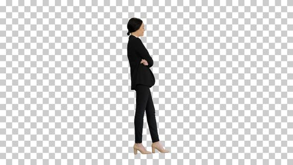 Confident young businesswoman posing with, Alpha Channel
