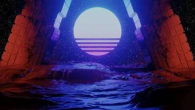 Cyberspace Tunnel with Rocks and Sun