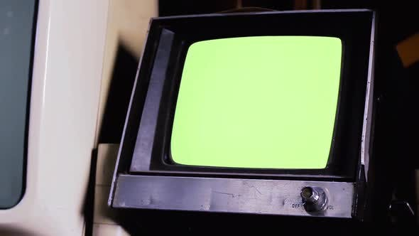 Thumbnail for Vintage Portable Television with Chroma Green Screen.