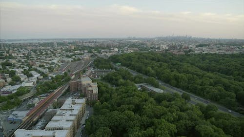 Aerial Pan Shot of Bronx River Parkway and NYC Skyline