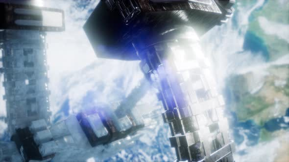Thumbnail for Space Station And Earth. 3D Animation