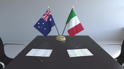 Flags of Australia and Italy and Papers