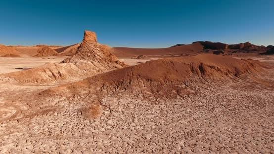 Thumbnail for Valle De La Luna. The Barren, Lifeless Area with Unique Erosional Landforms Under the Blue Sky.