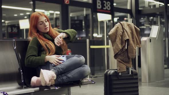 Thumbnail for Female Is Waiting for Delayed Flight at Night Airport