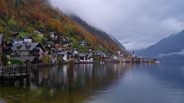 Traditional Homes near Lake in Famous Hallstatt Village in Salzkammergut Area, Austria