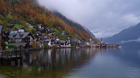 Traditional Homes near Lake in Famous Hallstatt Village in Salzkammergut Area, Austria