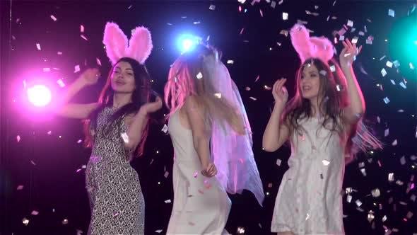 Thumbnail for Girls Dancing at Bachelorette Party Against Stroboscope Lamps, Slow Motion