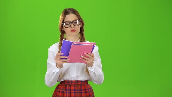 Thumbnail for Student Flips Through the Notebook . Green Screen