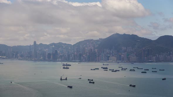 Thumbnail for Cityscape Boats Sail on Sea Surface Against Hong Kong City