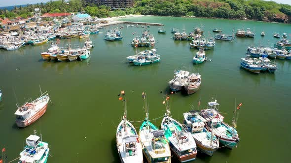 View of Fishing Boats in a Small Bay in the South of the Island of Sri Lanka, Aerial View