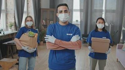 Team of Volunteers in Face Masks