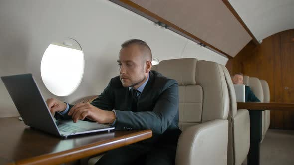 Thumbnail for Successful Business Man Traveling on His Private Jet